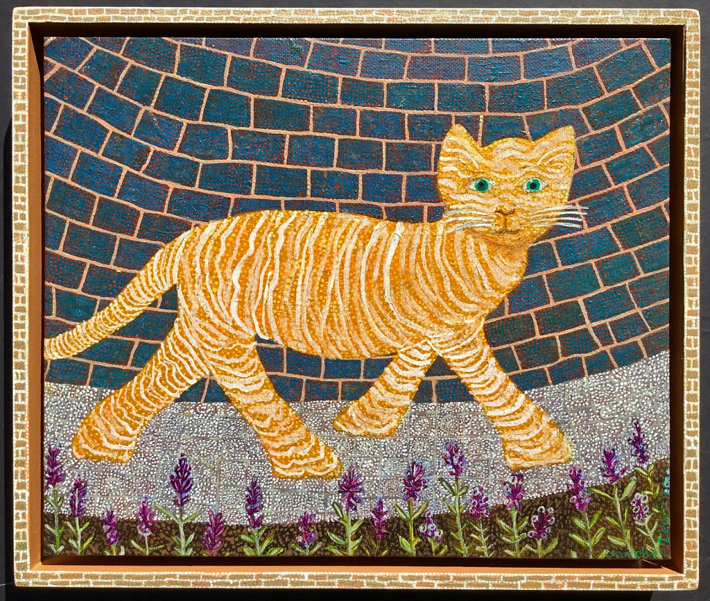 Golden Cat on a Silver Path