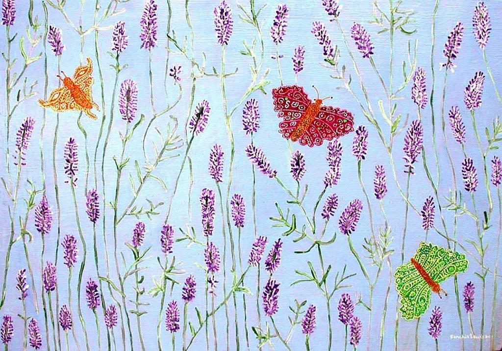 Butterflies in a Lavender Bush