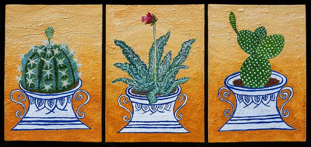 Desert Plants in Delft Pots